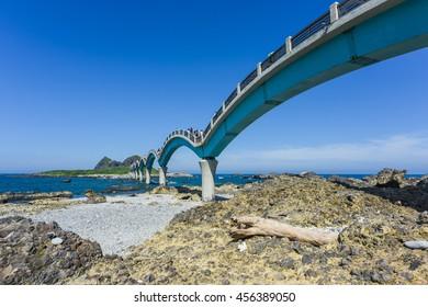 Three Saints Island and Bridge at Pacific Coast, Taitung, Taiwan