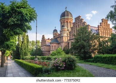 Three Saints Orthodox church in National University in Chernivtsi, Ukraine