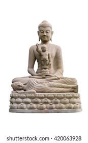 three sandstone Buddha meditating, sleeping, sitting on the lap. sandstone Buddha meditating, sleeping, sitting on the lap.
