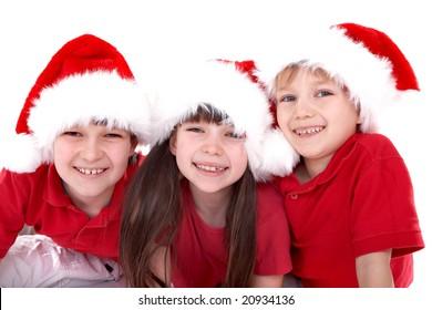 Three Santa kids