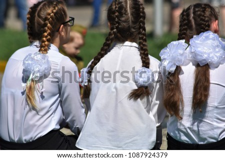Three Schoolgirls Braids White Bows School Stock Photo Edit Now