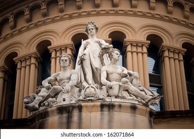 Three sculptures in front of Queen Victoria building, Sydney, Australia