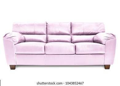 Three seats cozy blue leather sofa isolated on white background