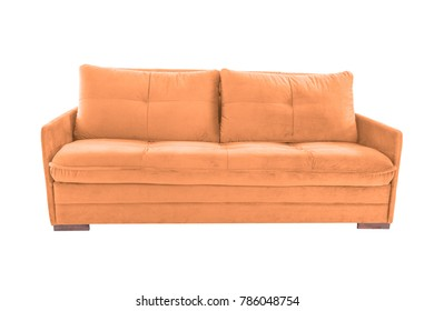 Three seats cozy brown fabric sofa isolated on white background