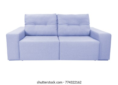 Three seats cozy color fabric sofa isolated on white background