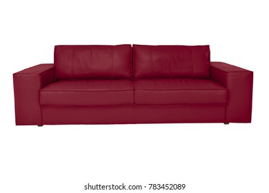 Three seats cozy color leather sofa isolated on white background