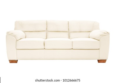 Three seats cozy leather sofa isolated on white background