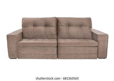 Three seats cozy sofa isolated on white background