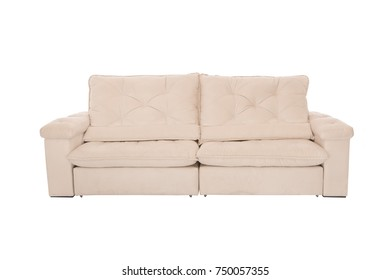 Three seats cozy sofa isolated on white background