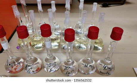 Three sets of calibration chemical solutions of increasingly lower concentration in 100mL volumetric flask