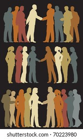 Three sets of colorful illustrated silhouettes of business groups meeting