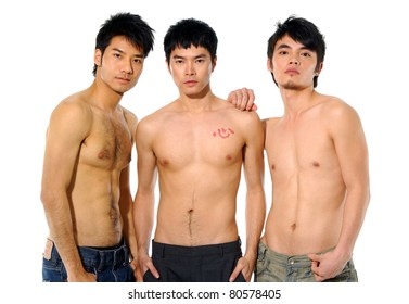 Three sexy naked men
