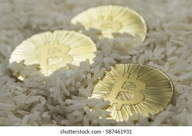 Three shiny gold Bitcoin coins laying in chinese rice