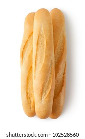 Three short baguettes. Top view. Isolated on a white.