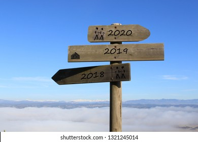 three signs indicating the way to 2020, 2019 and 2018