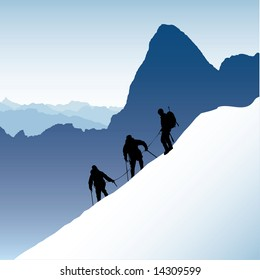 Three silhouetted mountaineers descending a ridge in the French Alps with Mont Blank in the background. Also available as vector.