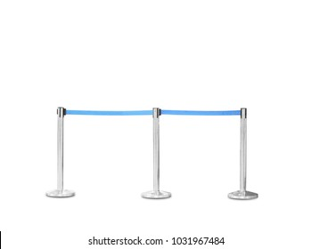 three silver pole with blue rope barrier isolated on white background This has clipping path.