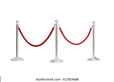 three silver pole with red rope barrier isolated on white background This has clipping path.