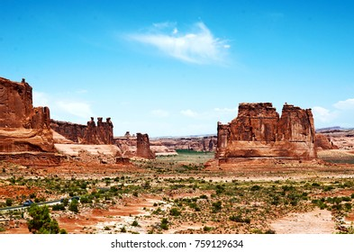The three sisters in Arches National Park Utah. Beautiful red landscape with incredible rock formations