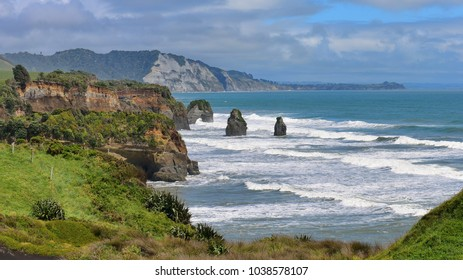 Three Sisters Beach and Elephant Rock formations along the coast in New Zealand