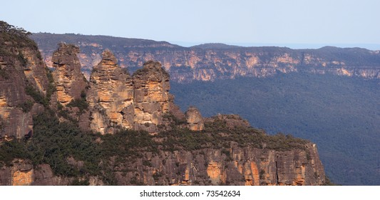 The Three Sisters are an iconic rock formation in Blue Mountains National Park near Katoomba, New South Wales, Australia.