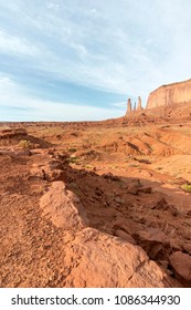 Three sisters in Monument Valley. They spires at the end of a ridge at the southeast corner of Mitchell Mesa.