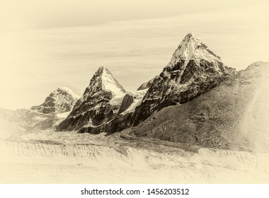 Three sisters Nirekha (6169 m), Kangchung (6062 m), and Chola (6069 m) in the area of Cho Oyu - Everest region, Gokyo valley, Nepal, Himalayas (stylized retro)