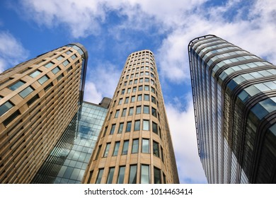Three skyscarpers modern building, detail background structure