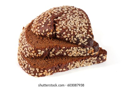 Three slices of black bread with sesame seeds isolated on white background