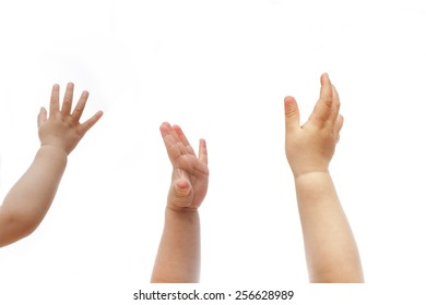 three small babies raise hands on a isolated white background, baby, child, kid, toddle, infant, five fingers, up, reach, wish, show