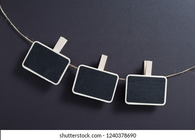 Three small blank blackboard isolated with line.