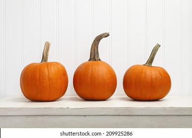 Three small pumpkins in a row against white background