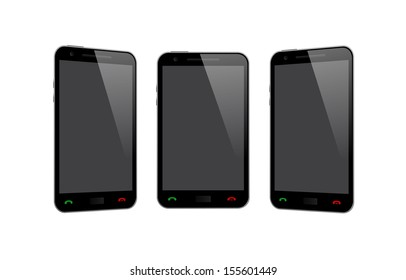 Three Smart Phone on White Background