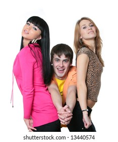three smiling young people