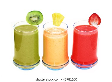 Three smoothie glasses isolated on white background