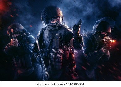 Three soldiers in full uniform with guns is going to attack. Uniform conforms to special services FSB (soldiers) of the Russian Federation. Explosion on a black background (blue and red)