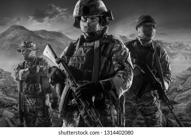 Three soldiers of russian mechanized infantry in desert of middle east (black and white)