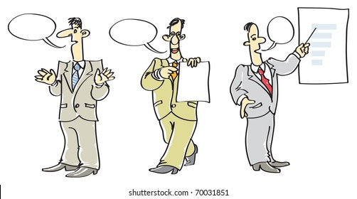 Three speaking men in suits. Raster version. Vector version is also available.