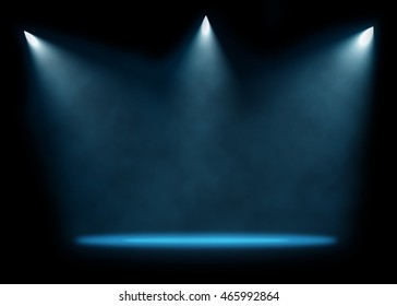 Three spotlights illuminating empty stage background. Raster illustration lightning template.