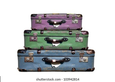 three stacked suitcases, luggage set, baggage