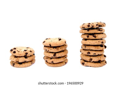 Three stacks of chocolate chip cookies from smallest to largest.