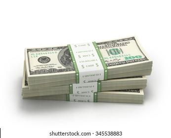 three stacks of hundred paper dollar bills money