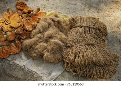 Three stages of coconut coir rope making with  traditional process  from Kerala, India
