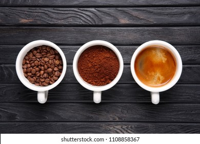 Three stages of coffee - beans, ground coffee and welded coffee