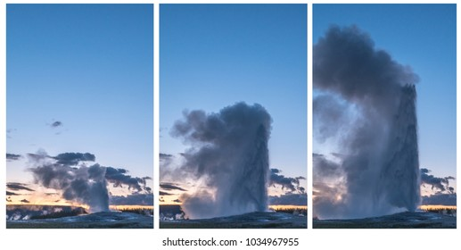 Three stages of the Old Faithful Geyser Eruption