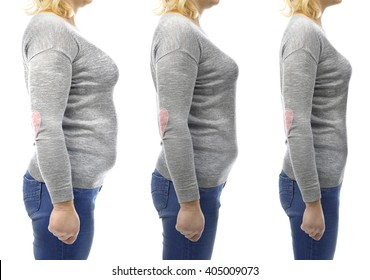 Three stages of slimming woman's body