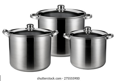 Three stainless steel pots. Isolated on white background
