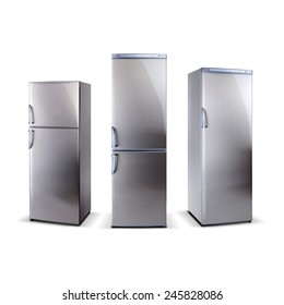 three stainless steel refrigerators isolated on white