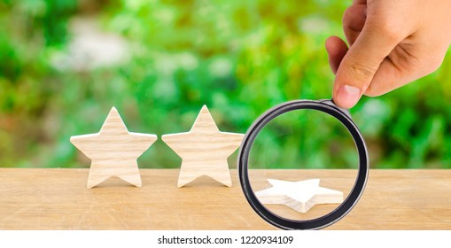 Three stars, a star fell. The concept of a fall in rating and quality. Deprivation of the third star. Feedback on the level of services for hotels, restaurants and mobile applications and products.