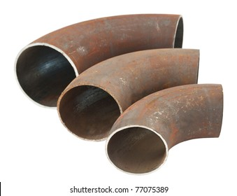 three steel pipe bends - spare parts for pipelines